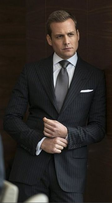 "Black Striped 2 Piece Suit Inspired By Suit Worn By Harvey Specter In ""Suits"" Tv Series 