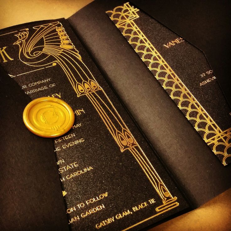 Chicago inspired printed on foil on black onyx metallic paper. Black pocket  folder and gold wax seal tie it all together.