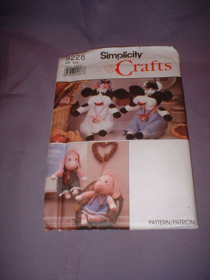 """SIMPLICITY PATTERN 9228 ~ 13"""" STUFFED COW & PIG & CLOTHES ~ NEW #simplicity"""