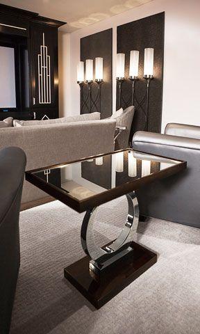 Art deco-inspired media room.  Century Furniture art deco table.