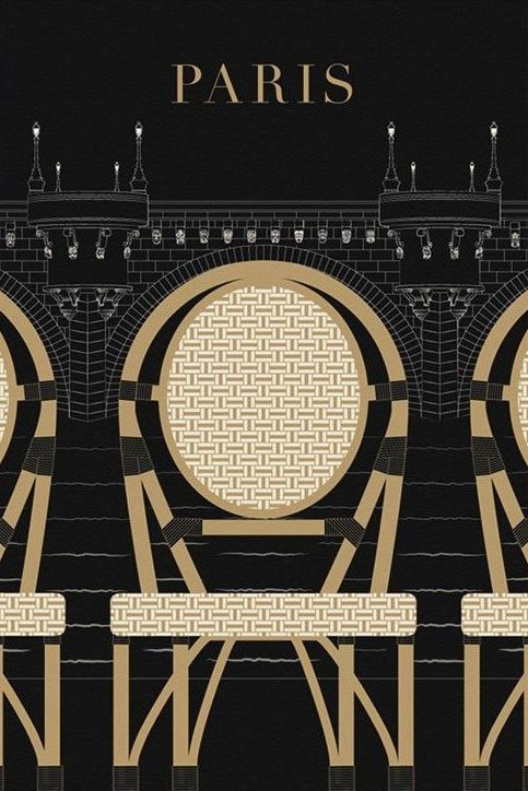 Paris decor, Pont Neuf Travel poster large wall art, Black Modern Art Deco…