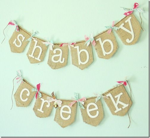 The Shabby Creek Cottage | Decorating | Craft Ideas | DIY: Some studio bling {aka the easy way to make a brand bunting}