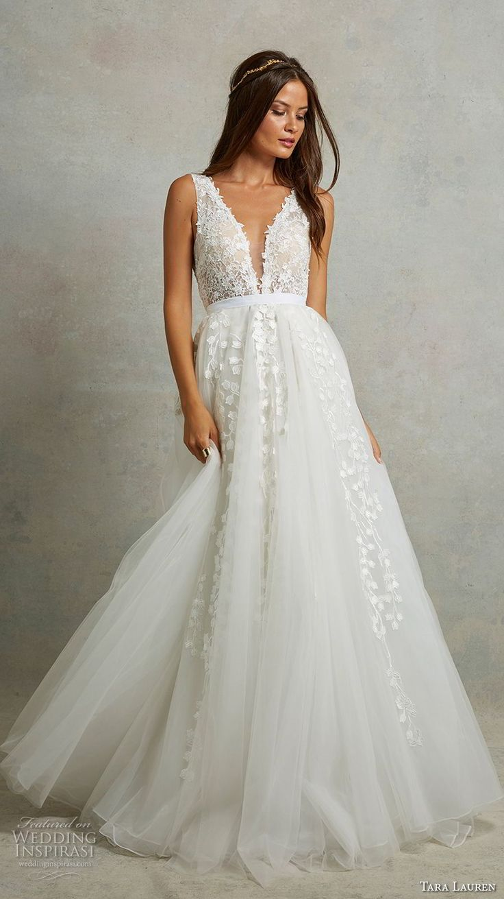 tara lauren spring 2018 bridal sleeveless deep plunging v neck heavily embellished bodice romantic a  line wedding dress v back chapel train (5) mv -- Tara Lauren Spring 2018 Wedding Dresses
