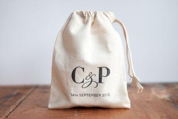 Personalised Wedding Rustic Favour Bags by PRINTforLOVEofWOOD
