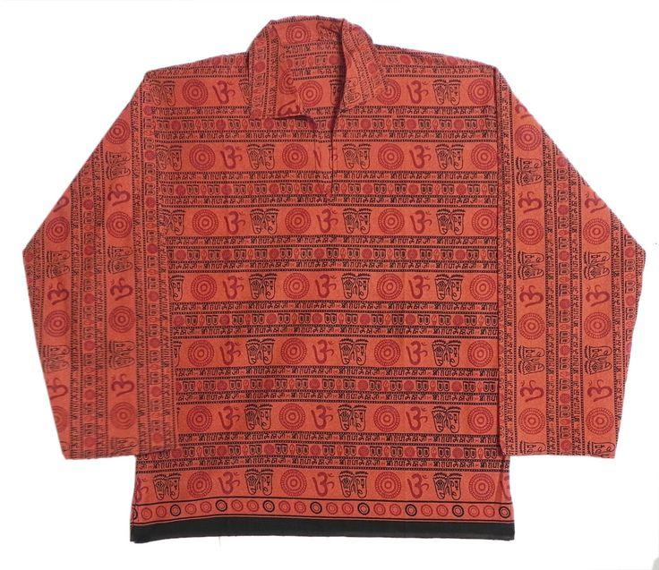 Full Sleeve Dark Saffron Short Kurta with Om Print (Cotton)