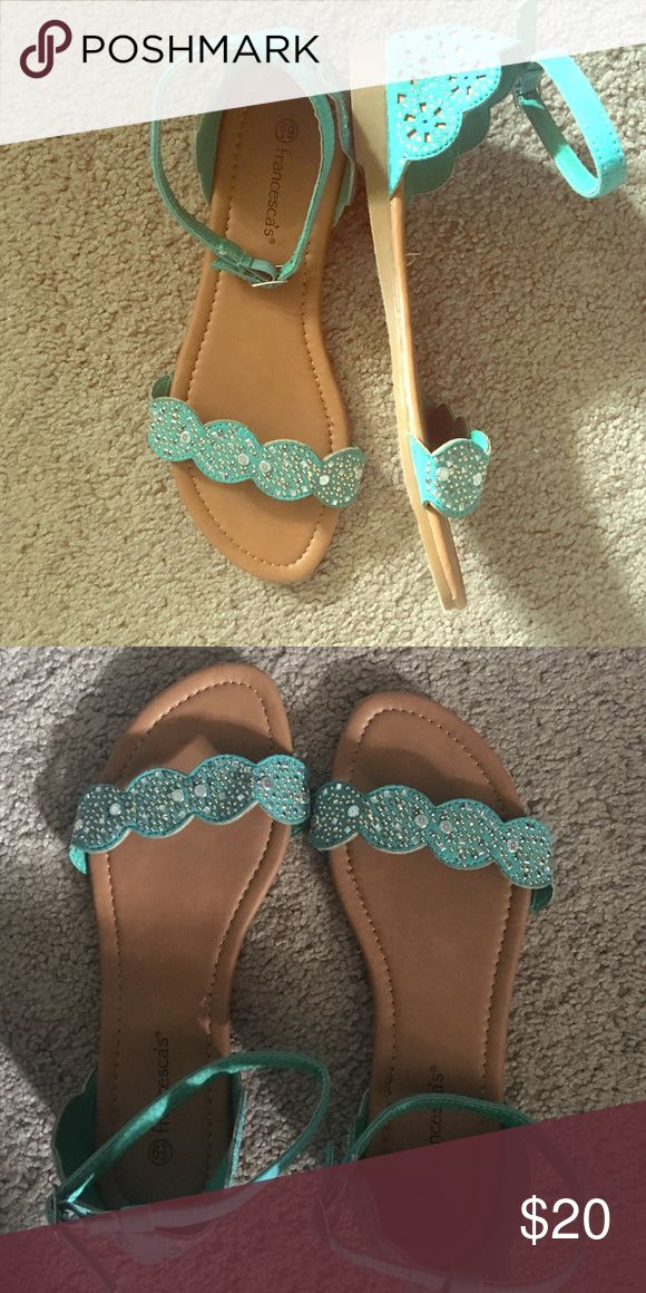 Turquoise sandals! Never worn before, turquoise sandal with ankle strap. Francesca's Collections Shoes Sandals
