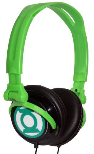 iHip DCF2400GL Classic Green Lantern Logo Hi-Fi Noise Reducing, Folding Headphones Black/Green