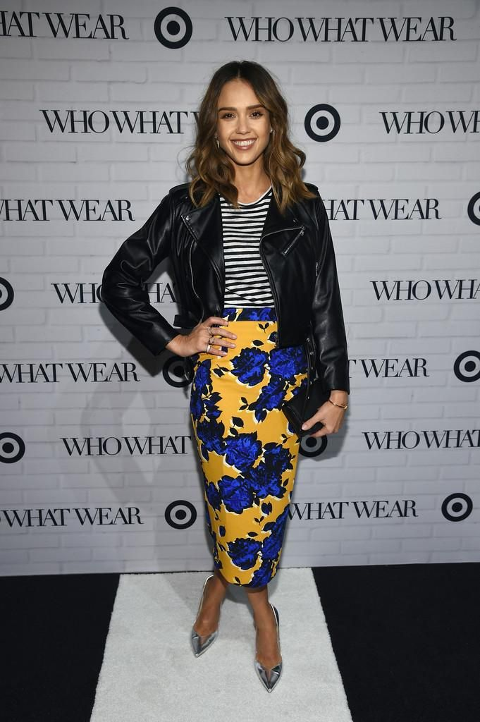 Jessica Alba wearing Brian Atwood Silver Marella Pumps, Target x Who What Wear Pencil Skirt in Vintage Floral, Target x Who What Wear Bateau Stripe Tee, Target x Who What Wear Minimal Moto Jacket and Target x Who What Wear Belt Bag in Black