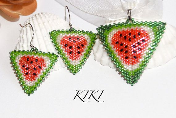 Beadwork watermelon patterned peyote beaded triangle pendant with matching earrings handmade and unique