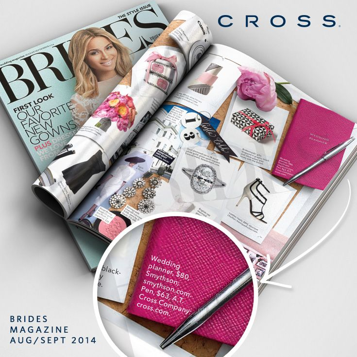 Recently engaged? Need ideas for wedding gifts or party favors?  Give a gift that will create signature moments for a lifetime, give a timeless CROSS pen. Visit Cross.com Check it out #CrossPens featured in Brides Magazine this month!: Bride Magazines, Gifts Ideas, Wedding Gifts