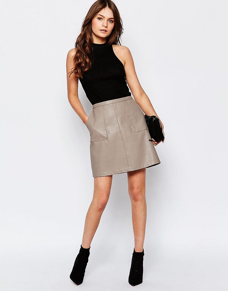 New Look Faux Leather A-Line Skirt N