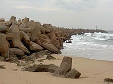 Durban's South Pier with a line of interlocking dolosse, South Africa