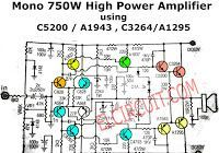 Circuit Power Amplifier using IC741 for buffer stage, and final stage using Transistor MJ2955 and MJ3055 as much 3 set transistor.