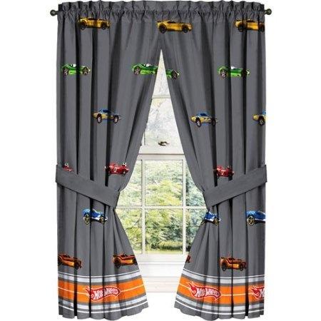Amazon com hot wheels vintage hot rods window curtain panels home amp kitchen boys bedroom
