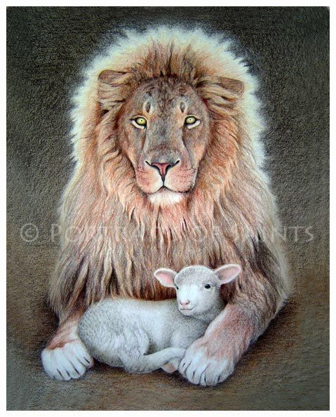 The Lion and Lamb 8x10 Print Free Shipping by PortraitsofSaints, $12.00