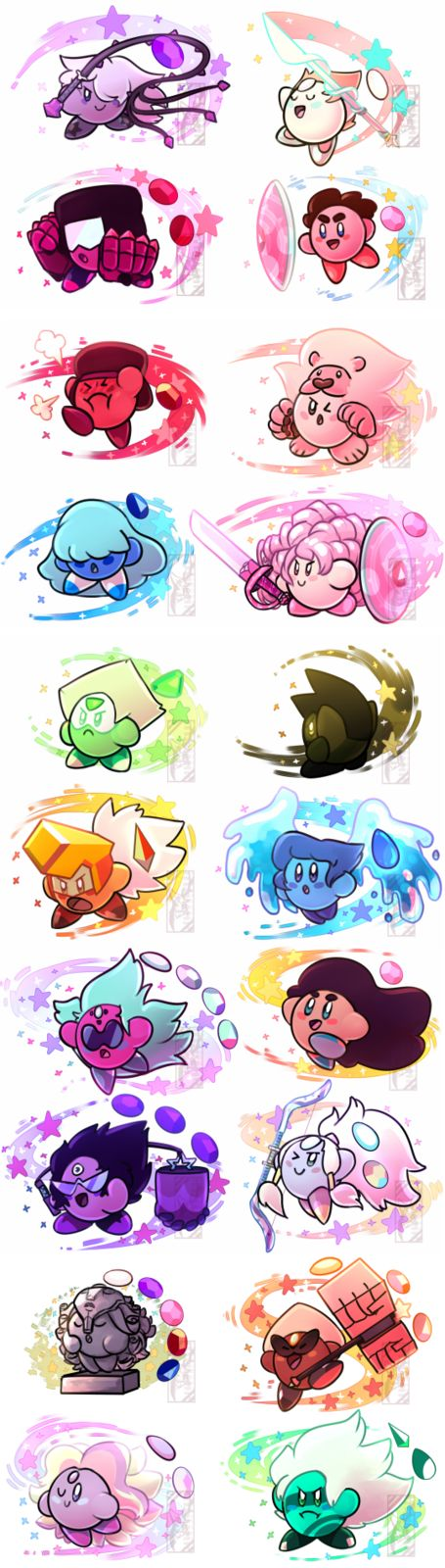 Steven Universe: Kirby versions! Peridot is my favourite <3