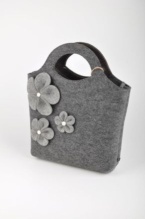 Grey melange Felt Bag Bianca. Original beautiful and by FELTTERRA
