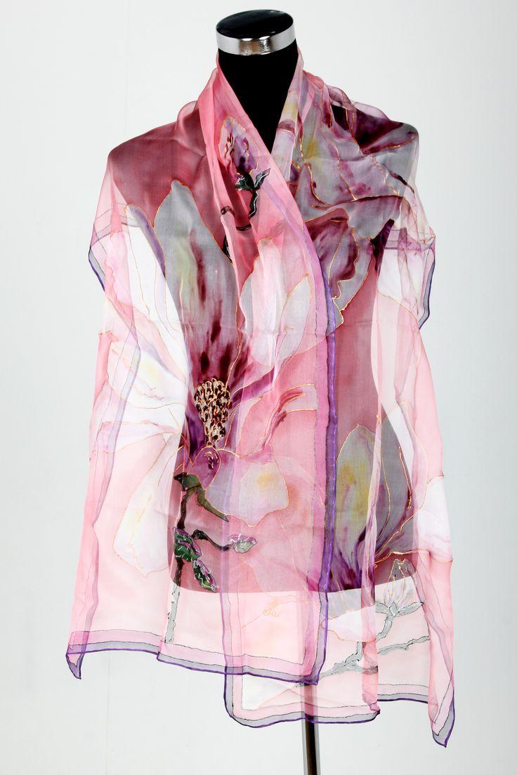 Hand painted silk scarf  www.designersilksbydiana.com