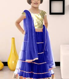 Buy Blue plain soft net kids lehenga choli kids-lehenga-choli online