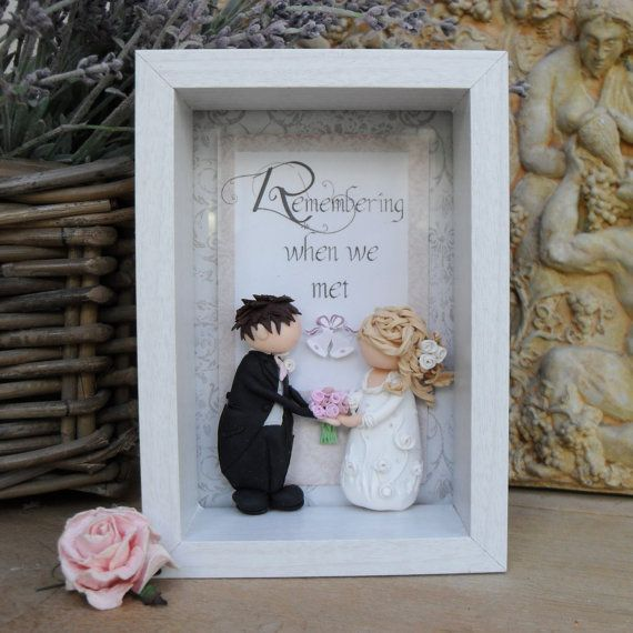 Wedding Gift Shadow Box : Wedding Gift, Bride & Groom, Decoupage, Polymer Clay Shadow Box ...