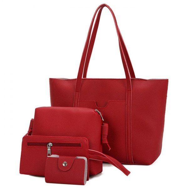 Deep Red Textured Leather 4 Pieces Shoulder Bag Set only 29.95