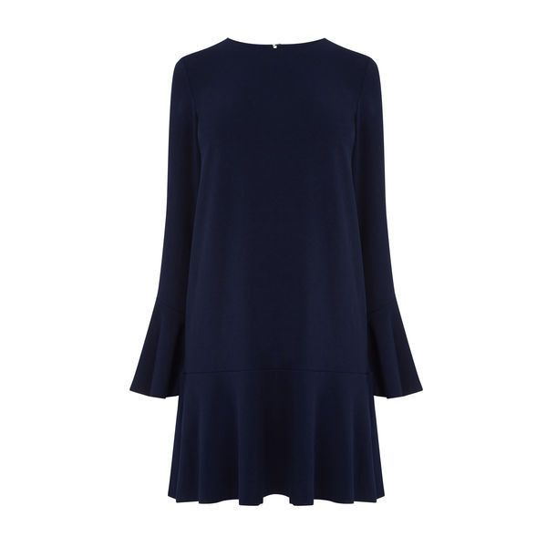 Warehouse Warehouse Flute Sleeve Dress Size 6 ($48) ❤ liked on Polyvore featuring dresses, navy, blue dress, navy dress, sleeved dresses, warehouse dresses and navy blue dress