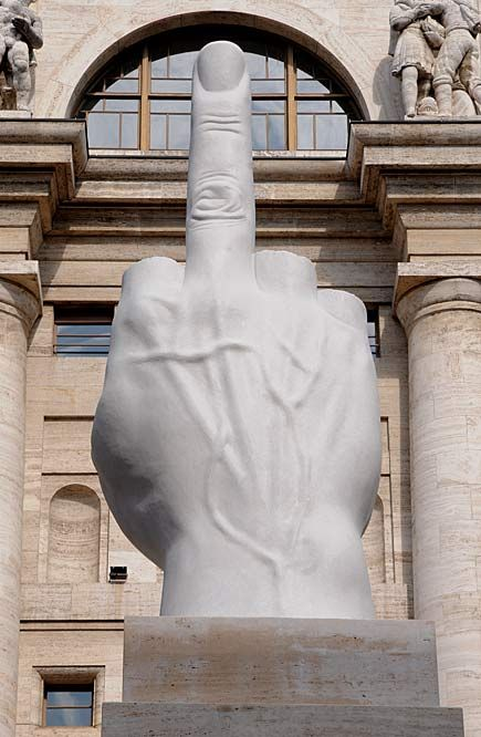Maurizio Cattelan;L.O.V.E (2011) .in front of Milan's stock market