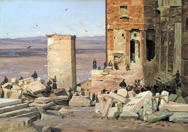 Martinus Rorbye,1835,εργασίες στα Προπύλαια.