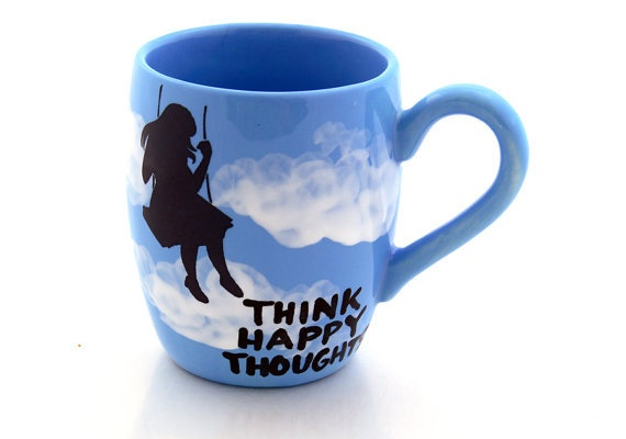 Mug In turquoise Blue with Silhouette of Girl on Swing Happy Thoughts: Turquoise Blue, Swings Happy, Think Happy Thoughts, Cute Coffee Mugs, Blue Skies, Thinking Happy Thoughts, Coff Mugs Pots Quotes, Coff Mugspotsquot, Memorial Mugs Cute