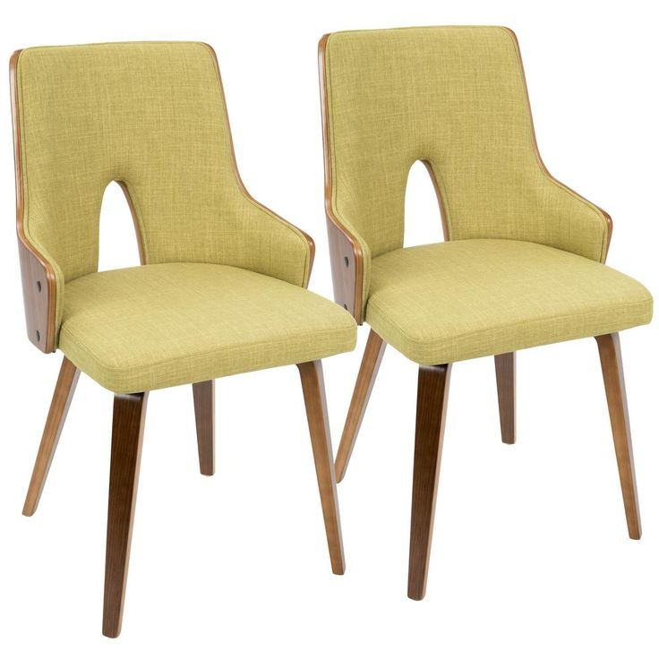 Stella Walnut and Green Accent Chair (Set of 2), Brown/Green