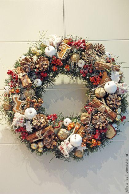 Новогодний венок - новогодний венок,рождество,подарок,украшение дома,венок на дверь