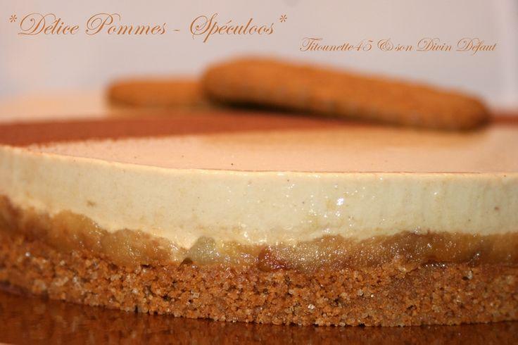 Délice Pommes - Spéculoos (thermomix) Le crémeux aux Spéculoos 5 jaunes d'oeufs - 50g de sucre - 2 sachets de sucre vanillé - 3 feuilles de gélatine alimentaire - 300g de crème fraîche épaisse - 300g de lait 1/2 écrémé - 250g de pâte de Spéculoos - 1 cuil à soupe de cacao en poudre non sucré (type Van Houten) Le croustillant aux Spéculoos  200g de spéculoos - 80g de beurre - 80g de cassonade