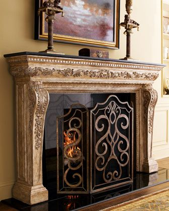 """Atlantis"" Mantel & Scroll Fireplace Screen by Ambella at Horchow."