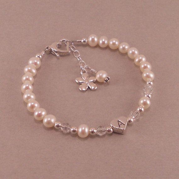 Flower Girl Bracelet little girls jewelry by SixSistersBeadworks, $42.00