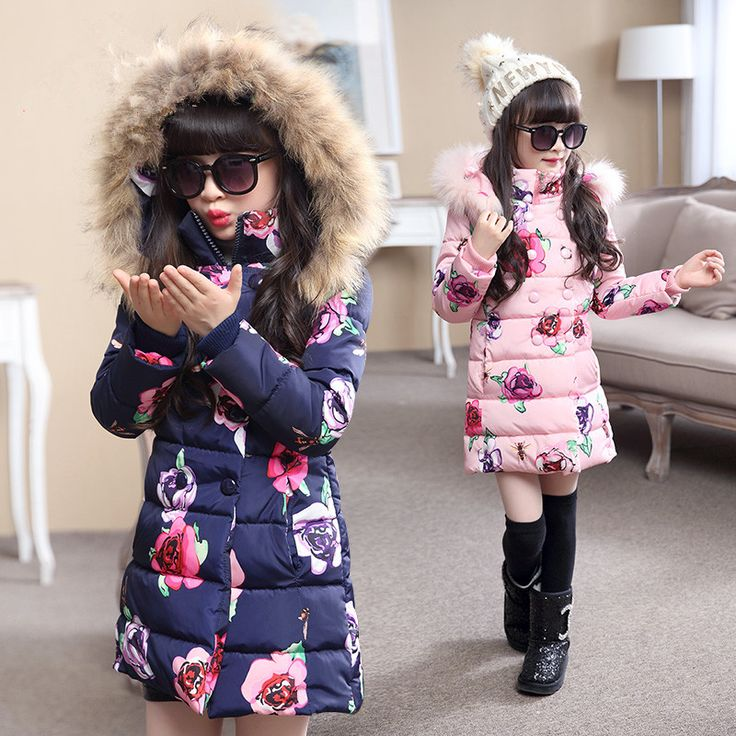Hot sell 2016 Fashion Medium-long Winter Coat for Girls Children Clothing Big Girls Printed Cotton-padded Jacket with Fur Hood