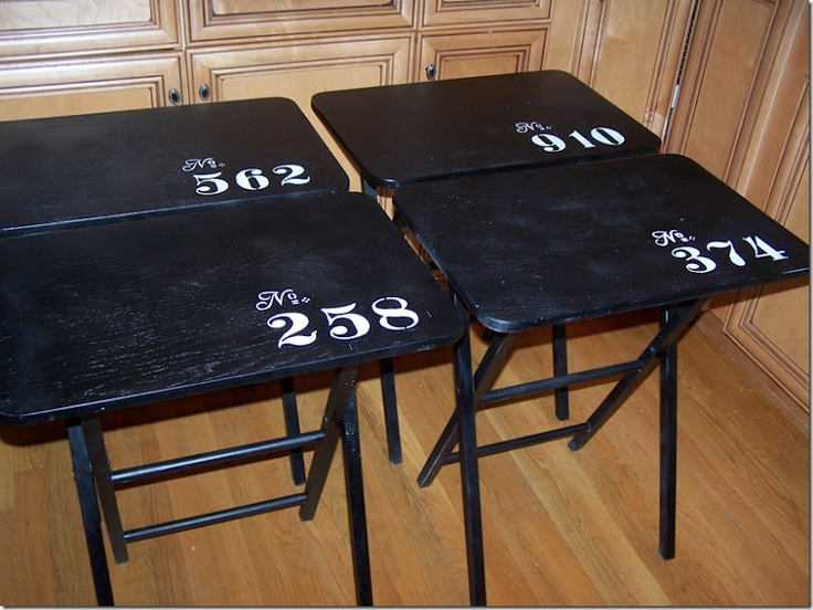 I have a set that I've painted glossy black, but I haven't stenciled an accent design on them yet. Hmmm...