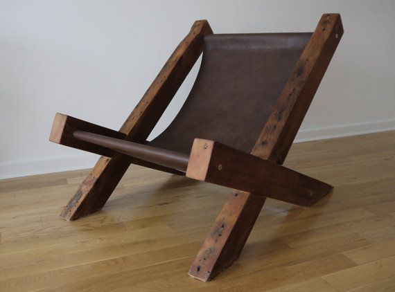 Reclaimed Wood and Leather Lounge Chair. Handmade Lounge Chair. Hand Stitched Leather. Rustic Furniture