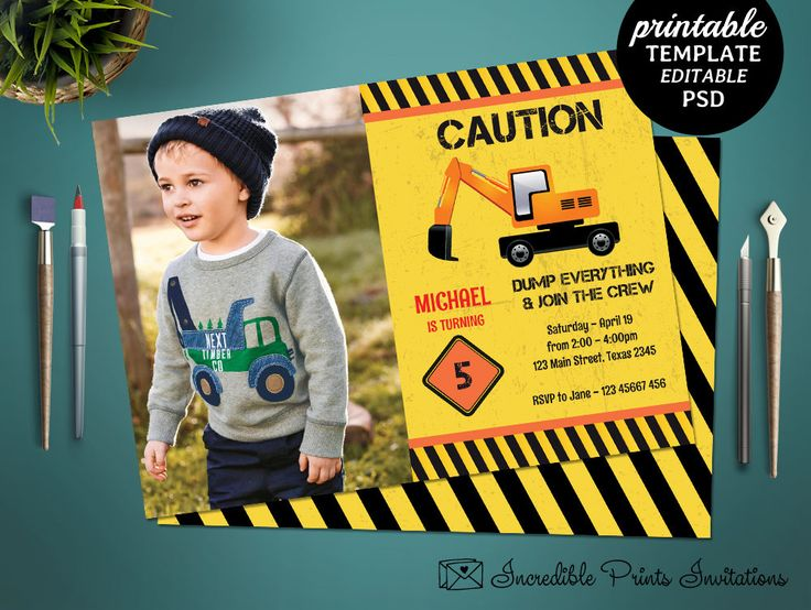 Printable Construction Boys 5th Birthday Invitation Template. Crane Boys Birthday Invitation. Crane Construction Boy Birthday Party Invite by HandmadeIncredible on Etsy