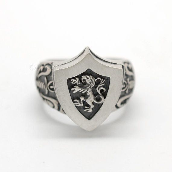 King lion heart knight shield with sword 925 Sterling silver ring, Men Man silver ring,lion ring