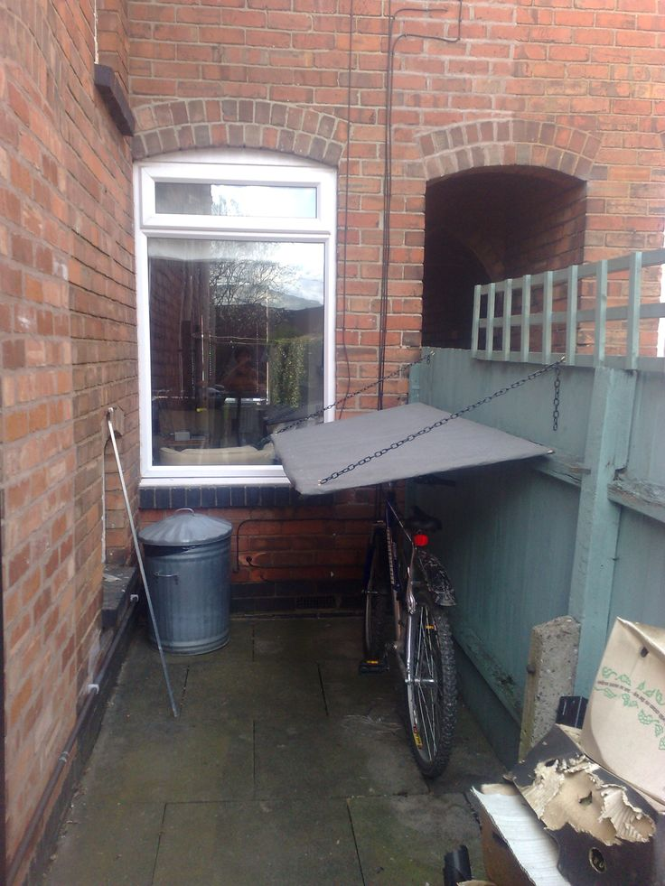Fold down bike shelter - clever space saving! - by Pete's Odyssey