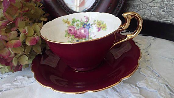 Burgundy Teacup and Saucer Vanderwood Gold Handle Pink