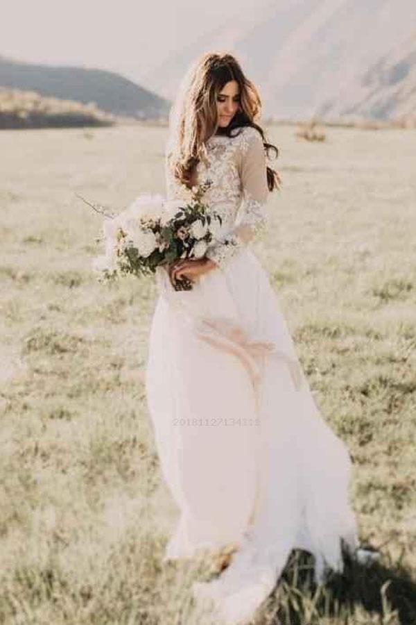 Günstige prächtige Brautkleider mit Ärmeln, Elfenbein Brautkleider, Spitze Brautkleider, Günstige Brautkleider – Wedding Dresses 2019