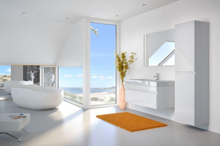 Badmöbelset PANDORA 3tlg - Hochglanz weiß - 100 cm mit Spiegel