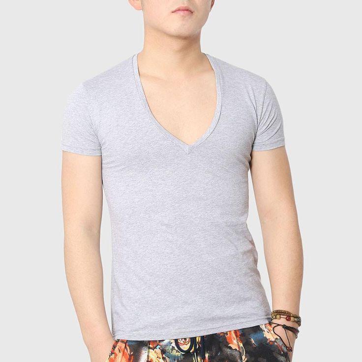 Men Bodybuilding T-Shirts, V-Neck, Asymmetrical Hem, Grey