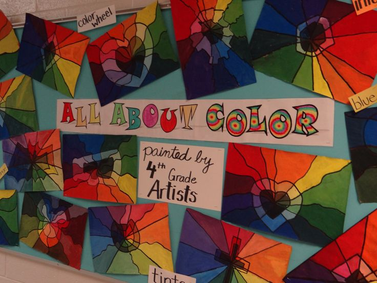 Color wheel paintings using a shape/ symbol with tints, shades, & hues. Fourth grade.
