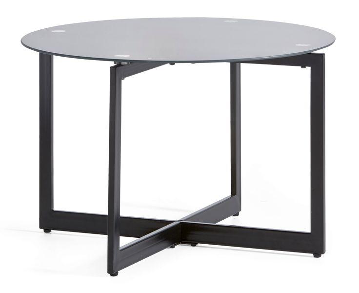 Maalattu metallirunkoinen sohvapöytä karkaistulla lasikannella. Väri musta.