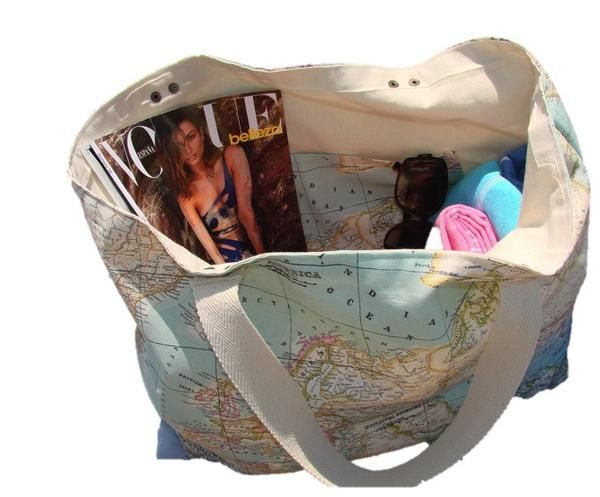 Bolsa Playa Mapa Mundi Azul, Bolsa Grande 60x45cm. Elige los acabados y personalízala.