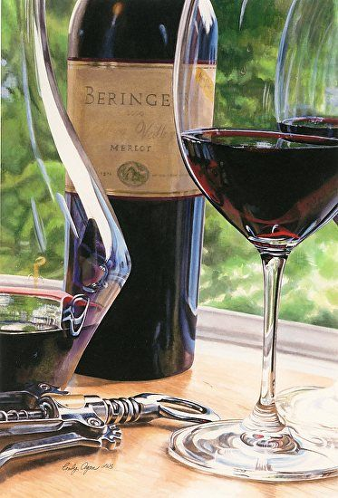 Napa Merlot by Cindy Agan Watercolor ~ 26.50 x 18.25