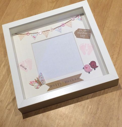Personalised new baby girl boy frame #handmade #button #christening gift,  View more on the LINK: 	http://www.zeppy.io/product/gb/2/111812601658/