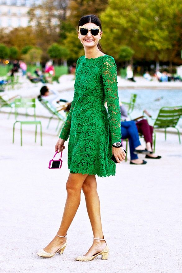 Lace takes a unique update in this vibrant eye-catching emerald. // #Fashion #StreetStyle